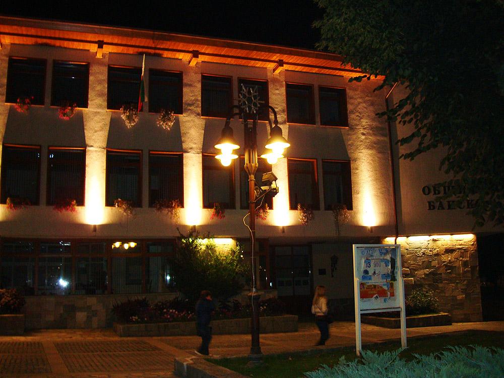Община Банско през ноща