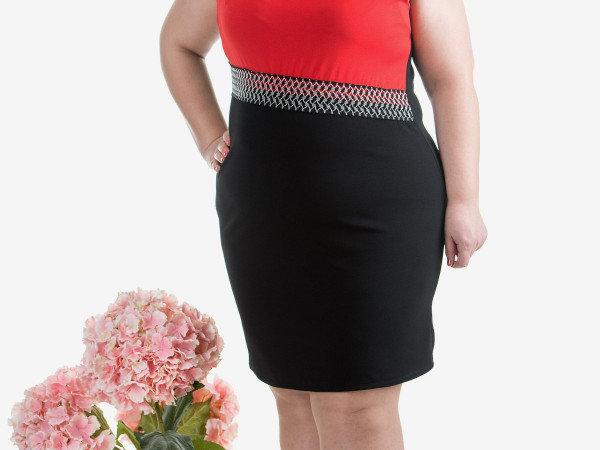 1. Снимка на Макси дамска рокля в червено и черно